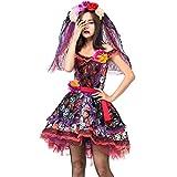 LDSSP Mujeres Adultas Halloween Cráneo Esqueleto Horror Fantasma Vampiro Cadáver Novia Fiesta Traje Cosplay La