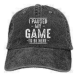 VJSDIUD Gorra de Mezclilla Popular Unisex Pause mi Juego para Estar aquí Sombrero de Camionero para Adultos Gorras de béisbol Ajustables Vintage