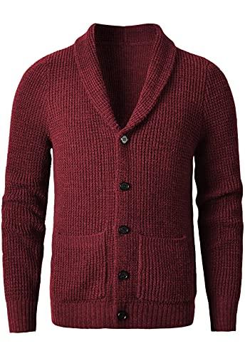 织礼 Suéter de lana merino gris oscuro con cuello de chal para hombre, rojo vino, 6X-Large
