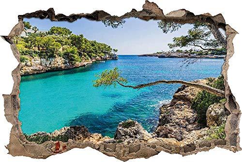 Pegatinas de pared Vista idílica del Mediterráneo en la cala de la bahía de Mallorca Apertura de pared en apariencia 3D Adhesivo de pared o puerta Adhesivo de pared Decoración de pared 62cmx42cm