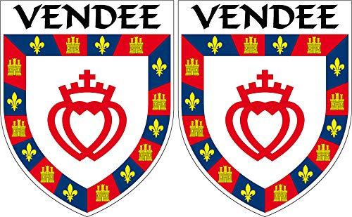 2 x Wappen Vendee Aufkleber 4 x 5 cm Département 85 ECUSSON