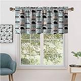 Hiiiman - Cortina de ventana con forma de barra, diseño de medusas sonrientes, juego de 1, 127 x 45,7 cm para el hogar decorativo paneles opacos para cocina