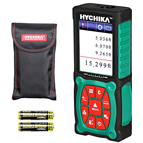 Laser Measure 196Ft, HYCHIKA Laser Distance Measure with Electronic Level Function, Accuracy ±1/16inch, Color LCD Display, Measure Distance, Area and Volume, 4 Units for m/in/ft/ft+in, 2 AA Batteries