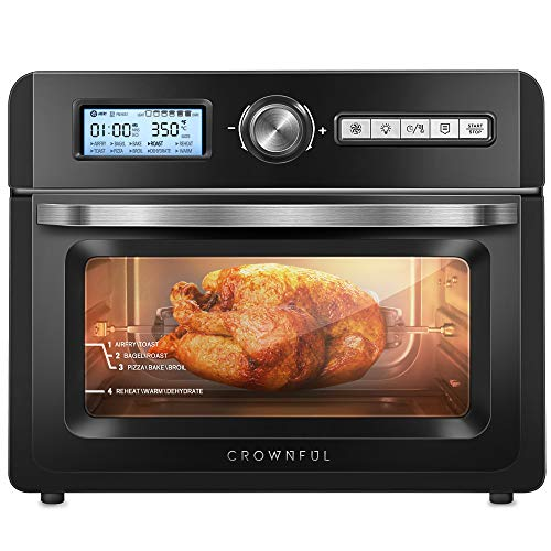 CROWNFUL 19 Quart Air Fryer Toaster Oven, Convection Roaster with Rotisserie & Dehydrator