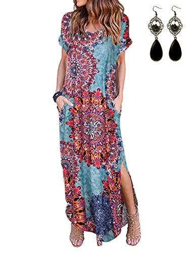 UUAISSO Robe Longue Femme Maxi Robe de Plage Cocktail Robes Manche Courte été, Bleu Paon S