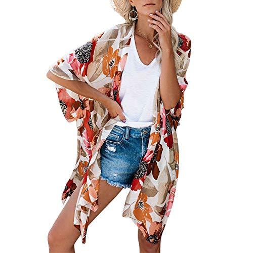 ECOMBOS Damen Lange Florale Kimono Cardigan - Strand Chiffon Kimono Cardigan Sommer Bluse Tops Beachwear Bikini Cover up Leichte Boho Strand Jacke