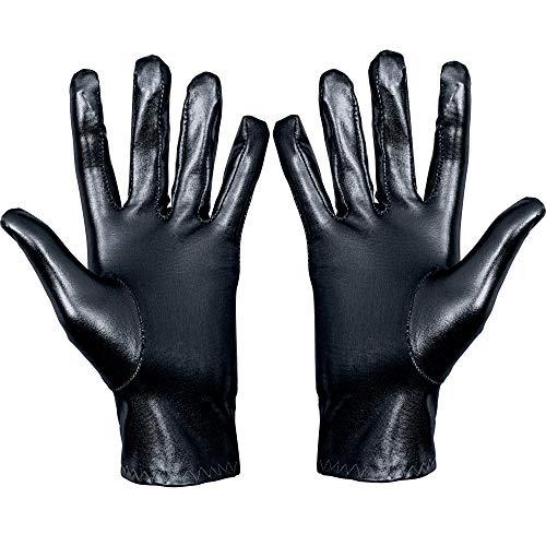 Skeleteen Metallic Black Costume Gloves - Shiny Black Superhero Evening Stretch Dress Glove Set for Men, Women and Kids