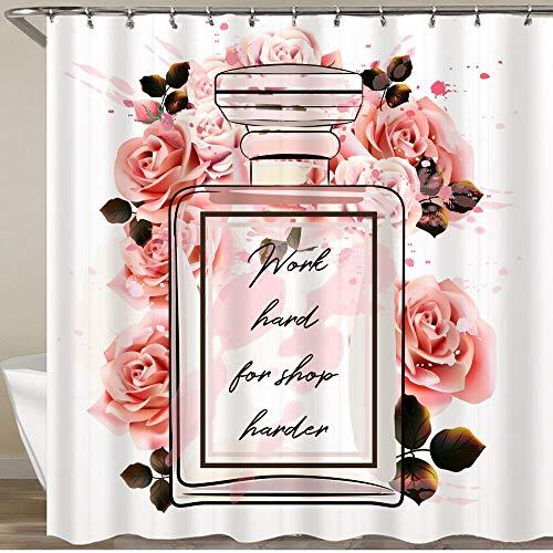 MATEKULI Cortinas de Ducha,Hermosa Botella de Vidrio de Perfume Rosa y Rosas,Impermeable Cortinas Baño y Lavables Cortinas Bañera 180x180CM