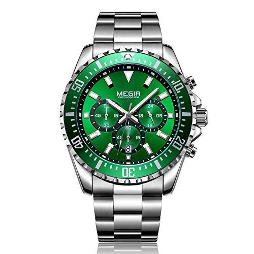 Reloj Cronógrafo para Hombre de Cuarzo con Correa Analógico de Negocios único para Hombres Cronógrafo de Acero Inoxidable Resistente al Agua