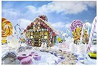 新しいクリスマスの写真スタジオの背景キャンディワークショップクリスマスの背景画像7x5ftカラフルなジンジャーブレッドハウスの赤ちゃんの写真の背景子供の画像