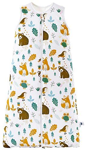 Chilsuessy Schlafsack Baby 2.5 Tog Winterschlafsack Babyschlafsack aus Reine Baumwolle Winter Schlafanzug ohne Ärmel 70-130cm für Neugeborene und Kinder (90cm/Baby Höhe 85-95cm, Waldtiere)