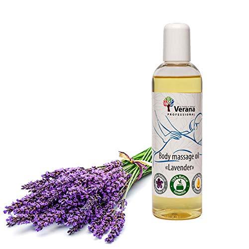 Verana Lavendel Massage-Öl, Naturkosmetik Körper-Öl, Alle Haut, Pflegende Massage, Aromatherapie, Anti Aging (small, 250 ml)