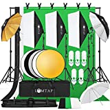 LOMTAP Photography Softbox Light Kit Photo Studio Lighting Kit 6.5ftx9.8ft Background Support System with Stand Backdrop Softboxes Umbrella Reflector for Photo Video Shooting