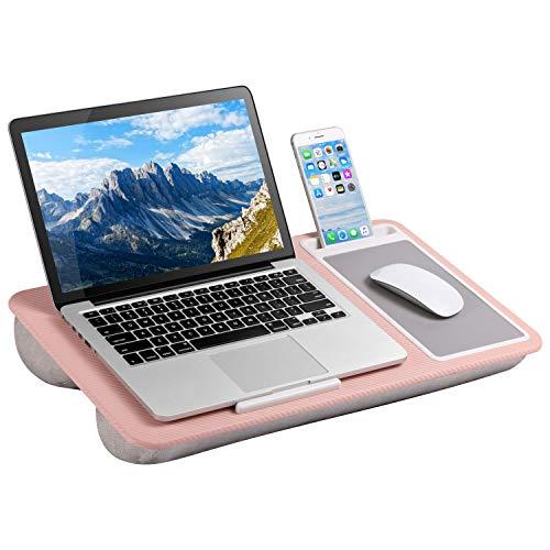 LapGear Escritorio de regazo para oficina en casa con borde de dispositivo, alfombrilla de ratón y soporte para teléfono, color rosa, compatible con portátiles de hasta 15,6 pulgadas, estilo n.º 91584