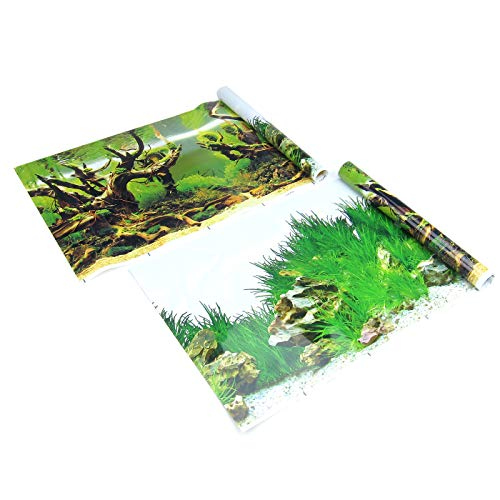 Alfie Pet - Wilder 2-Piece Set Fish Tank Background - Color: Green, Size: Small