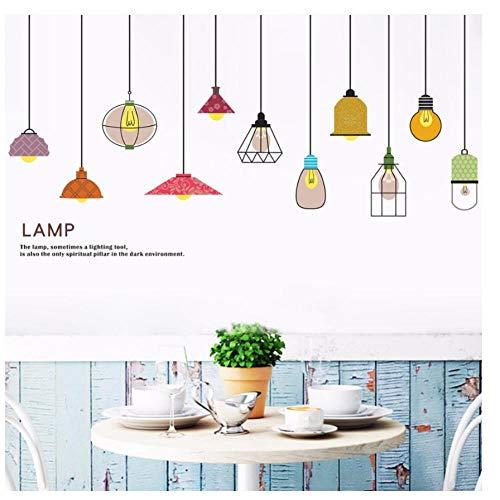 MINGKK - Adhesivo decorativo para pared, diseño de lámpara de estilo europeo, para dormitorio, sala de estar, sofá, TV, fondo de pared, calcomanías removibles, decoración del hogar