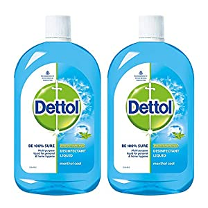 Dettol Liquid Disinfectant for Multi-Purpose Germ Protection, Menthol Cool, 500 ml (Pack of 2)