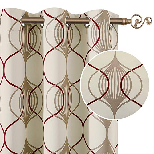 HOMEIDEAS 2 Panels Geo Pattern Curtains Red and Taupe Blackout Curtains for Bedroom, 52 X 63 Inch Beige Room Darkening Curtains, Thermal Insulated Grommet Top Window Curtains for Living Room/Kitchen