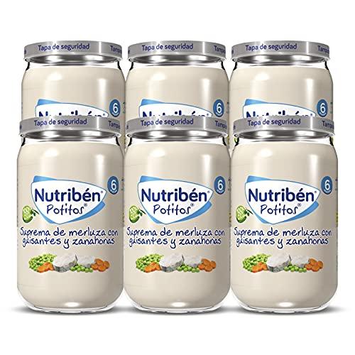 Nutribén Potitos Suprema De Merluza Con Guisantes Y Zanahorias Desde Los 6 Meses, Pack De 6 X 235gr