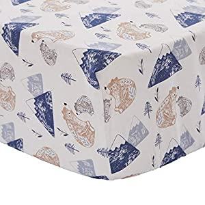 Levtex Baby – Rowan Bear Crib Fitted Sheet – Fits Standard Crib and Toddler Mattress – Tossed Bears, Moutains and Trees – Blue, Grey, Taupe and White – Nursery Accessories – 100% Cotton