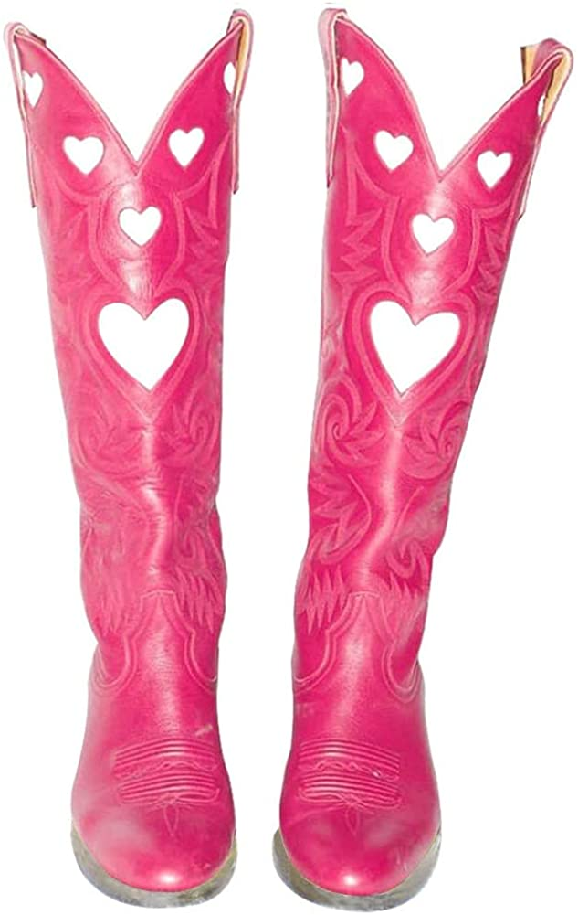 Womens Mid Calf Boots Chunky Heel Cute Heart Cowgirl Cowboy Colorful Western Cosplay Party Boots