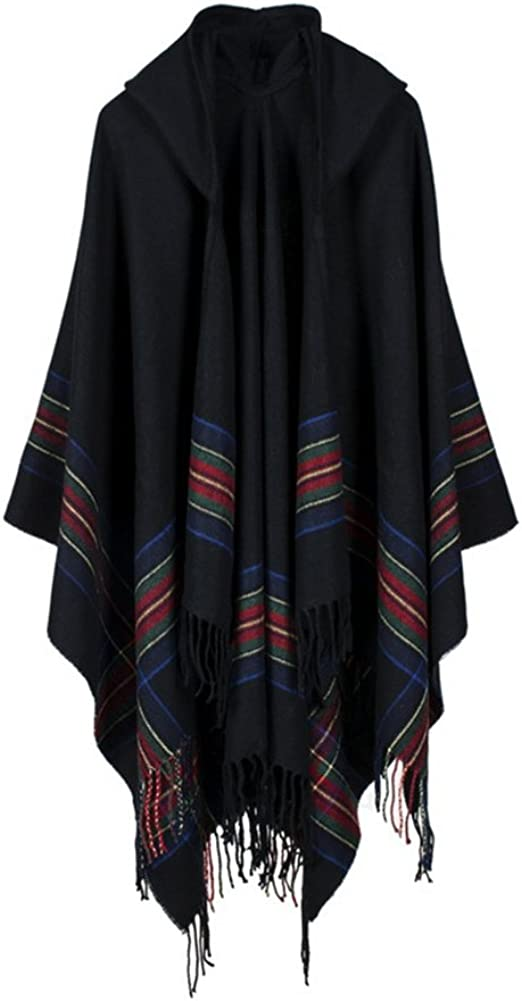 Engood Women's Floral Printed Wool Hooded Tassel Poncho Cape Pashmina Cardigans Sweater Coat