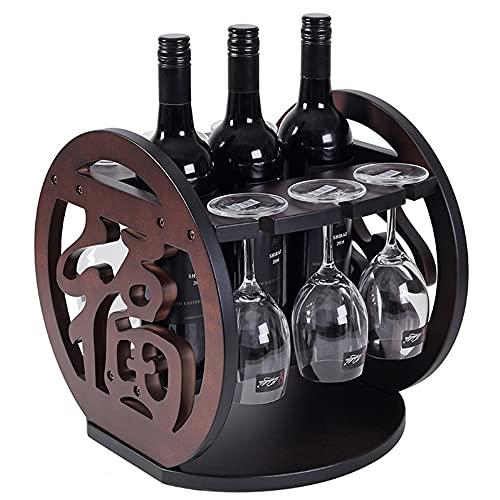 YaNanHome Estante de Vino y Soporte de Vidrio, para 3 botellas y 6 copas, Estante de exhibición de Almacenamiento de Vino rústico de Madera, para decoración de Cocina, Comedor, Bar/A