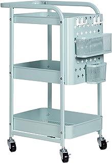 LEMONDA 3-Tier Storage Trolley with Handles and Peg Board Hooks Baskets Locking Wheels, Rolling Cart Utility Cart Storage ...