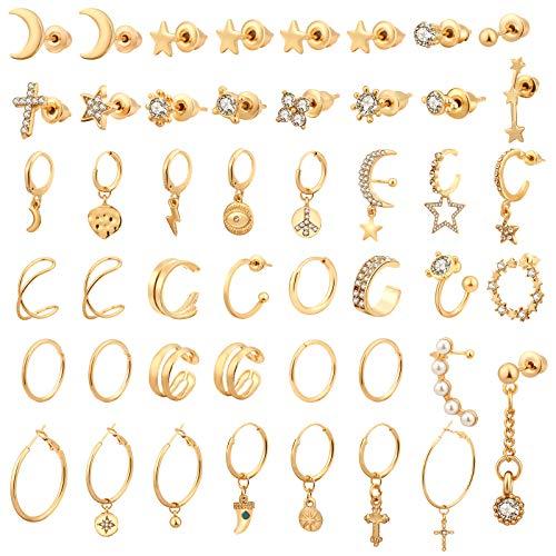 Hicdaw 45Pcs Gold Earrings Stud Set for Women Hypoallergenic Hoop Earrings with Multiple Earrings Bohemian Earrings Stud Vintage Star Earring Set for Girls with Storage Box