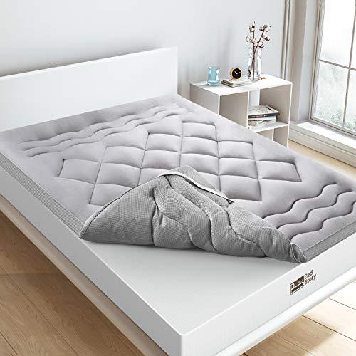 BedStory Topper Colchon Fibra 150x190 CM Sobrecolchón Fibra Anti-ácaros y Transpirable Protectores de Colchón Hipoalergénica Diseño de Malla Gris