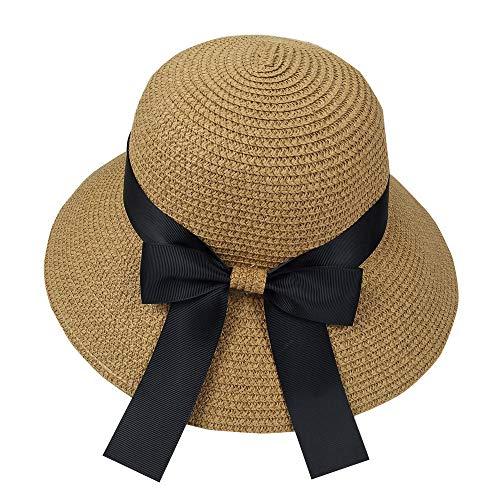 Hexcbay Mujer Sombrero del Sol Playa Gorras Gran Bowknot ala Ancha Som