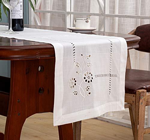 Dalina Textil Pieza de 1 Camino de Mesa con bordaje (Flores Blanco, 40x180cm)