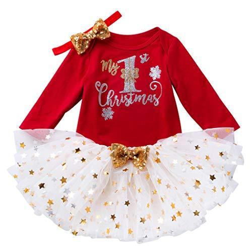 Great Deal! Zainafacai Baby Girl 3Pcs Outfits Sequin Bow Princess Romper+Tutu Skirt Dress+Headband C...