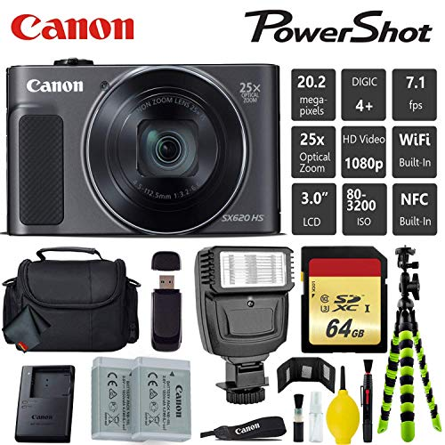 Canon PowerShot SX620 HS Digital Point and Shoot Camera (Black) + Extra Battery + Digital Flash + Camera Case + 64GB Class 10 Memory Card - International Version