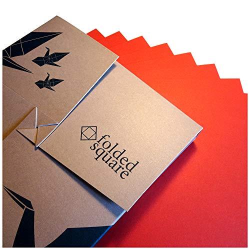 Folded Square Origami Conjunto de Regalo de 100 Hojas de Papel para papiroflexia - Pantone Rojo 1797