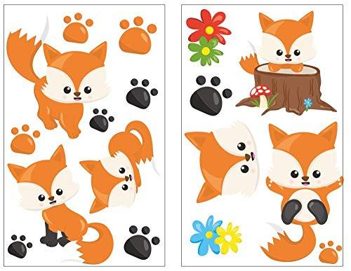 Samunshi® Lot de 17 Stickers muraux pour Chambre d'enfant Motif Pieds de bébé, Multicolore, 2X 27x43cm