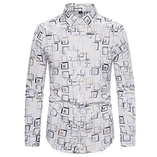 CFWL Camisa De Primavera Camisa De Manga Larga para Hombre EláStico De Estampado En Caliente De Moda De Club Nocturno Chaqueta De Forro Polar para Hombre Forro Polar Blanco L