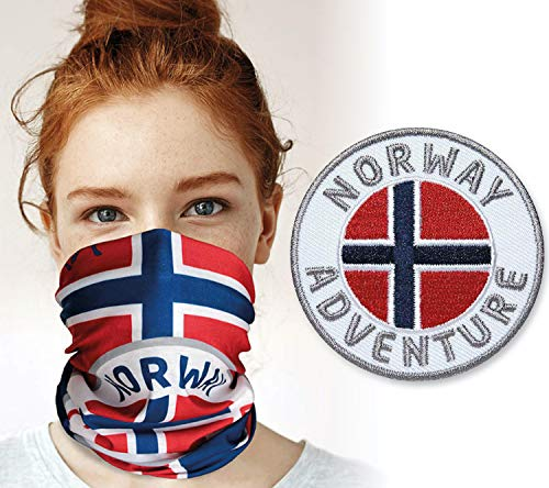 Club of Heroes Norwegen Set / 1 Patch + 1 Multifunktionstuch/Aufnäher Aufbügler Sticker gestickt/Schlauchtuch Bandana Halstuch Mundschutz/Norway Flagge Fahne Skandinavien Schweden