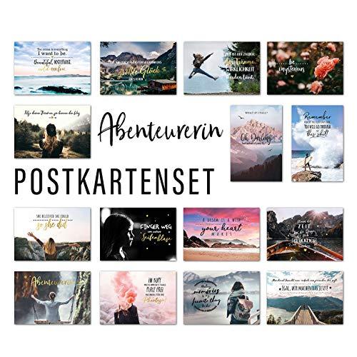 Him & I® Postkarten Set Abenteurerin - 15 verschiedene Postkarten mit Sprüchen & Zitaten - Abenteuer, Veränderung, Freundschaft, Mut & Motivation - Geschenkidee - inspirierende Spruchkarten mit Motiv