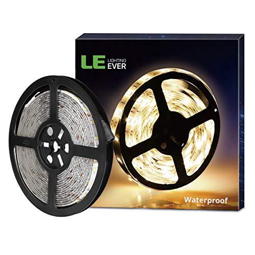 LE LED Streifen 12V 5m Selbstklebend, IP65 Wasserfest Leiste mit 300 Stück 2835 LEDs, 3000 Kelvin 1200 Lumen Warmweiß LED Band, DIY Flexibel Stripe für Innen Heim Küche usw