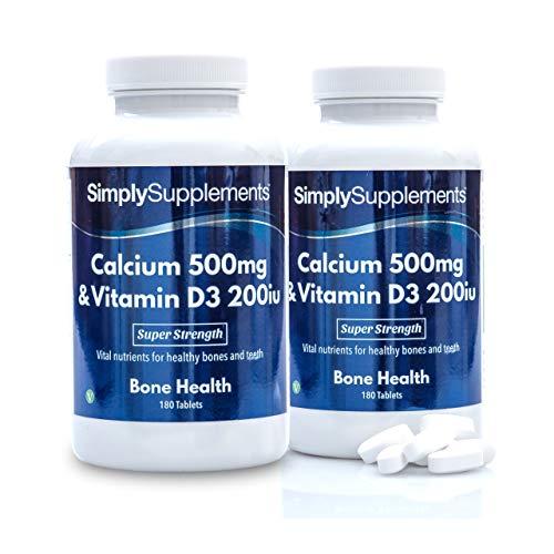 Calcio 500 mg e Vitamina D3 200 UI - 360 compresse - Adatto ai vegetariani - 6 mesi di trattamento - SimplySupplements