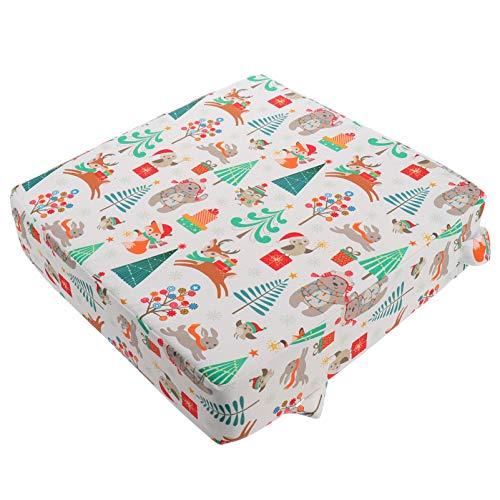 NUOBESTY Kleinkind Esszimmerstuhl Kissen Weihnachtsbaum Muster Babysitz Erhöhungsmatte Hochstuhl Erhöhung Sitzpolster Booster Kissen für 1 bis 5 Jahre Alt 32X32x8cm