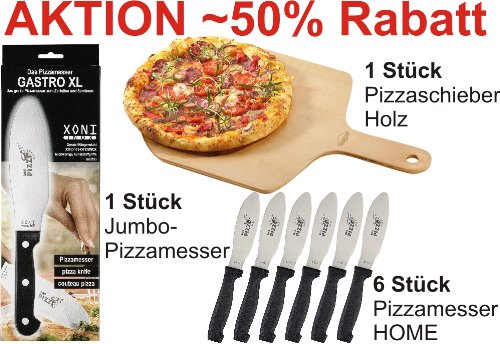 Ein Pizzaschieber plus 6 Stück Pizzamesser HOME plus ein Jumbo-Pizzamesser im Vorteils-Set
