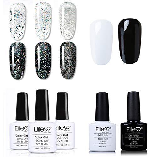Elite99 Silber UV Nagellack 10ML, Glitzer mit Weiß und Schwarz Gel Nail Art für Nail Design, UV LED Soak Off Lack Gelnägel C001