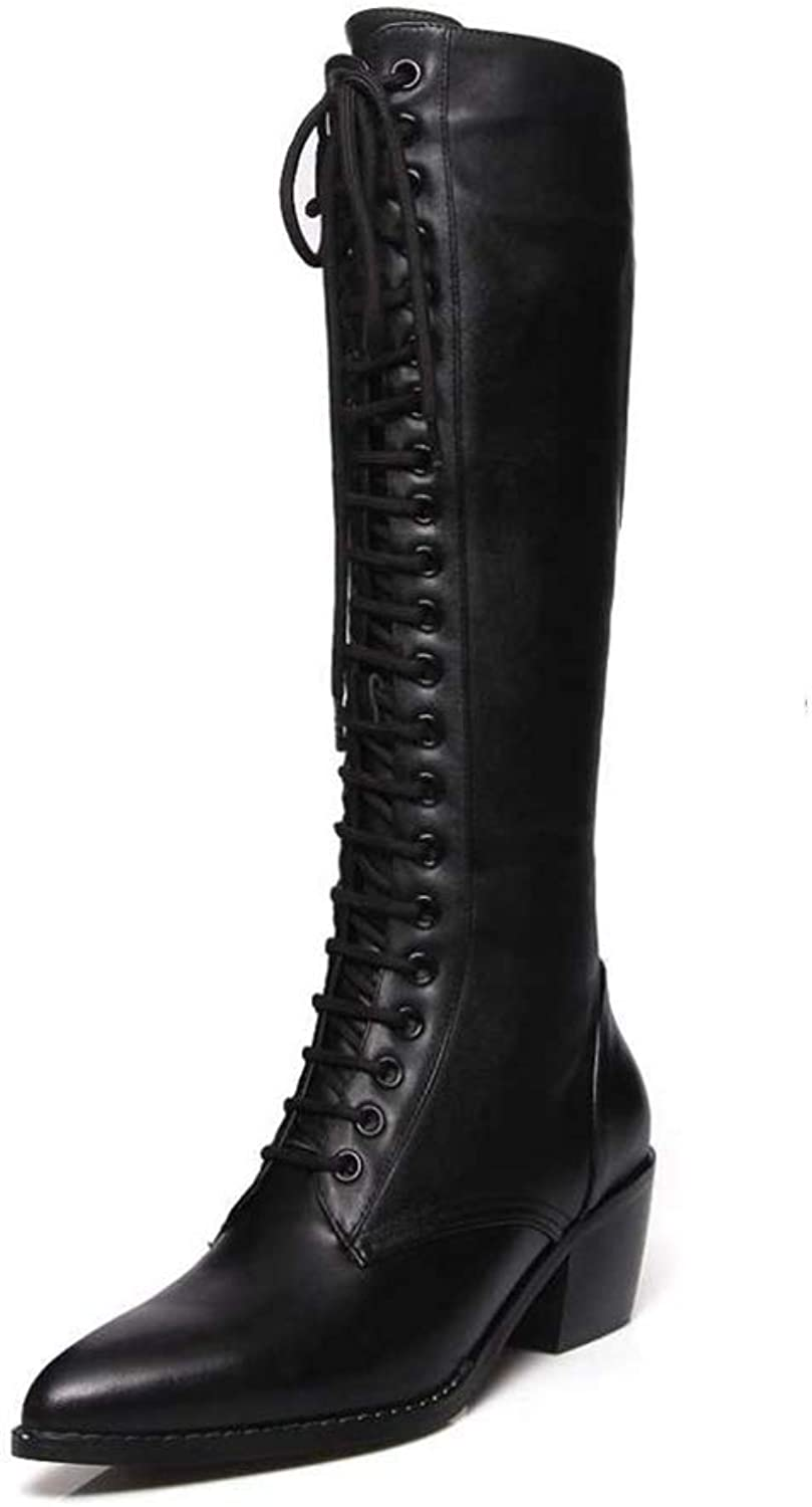 Women Winter Knee High Boots Superstar Pointed Toe Zipper Cow Leather Solid Square Heel shoes