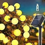 Guirnaldas Luces Exterior Solar, 60LED 11M Luces Solares Led Exterior Jardin con USB energizado por, 8 Modos & Impermeable Cadena de Hadas para Jardín, Bodas, Patio, árbol de Navidad(Blanco cálido)