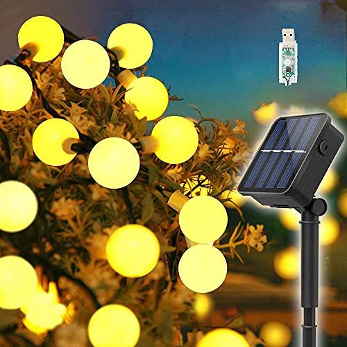 Guirnaldas Luces Exterior Solar,  60LED 11M Luces Solares Led Exterior Jardin con USB energizado por,  8 Modos & Impermeable Cadena de Hadas para Jardín,  Bodas,  Patio,  árbol de Navidad#Blanco cálido#