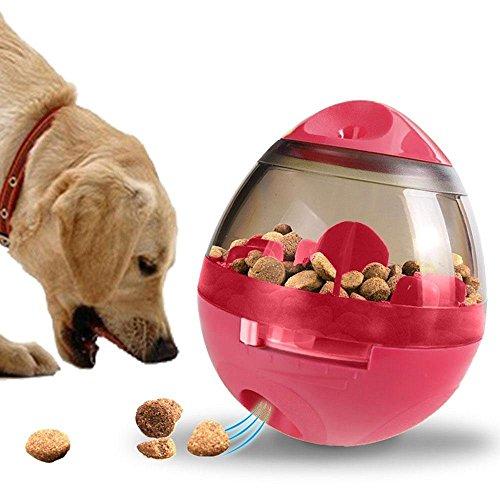 Stehaufmännchen Entworfen Hund Leckerli Spielzeug, Spaß und Interaktiver Hundesorgfalt-Ball/Nahrungsmittelspender/Interaktives Spielzeug/Langsam Essen IQ Training Ball für Hunde und Katzen (Rot)