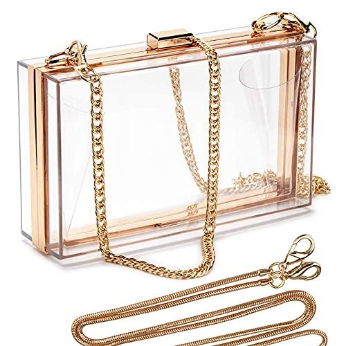 Linkidea Clear Purse for Women, Acrylic Box Evening Clutch Bag, Transparent Crossbody Shoulder Handbag (Clear/Gold)