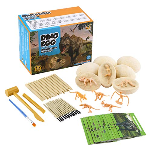 Dinosaur Eggs Toys Kit, Dig Up Dinosaur Fossil Eggs, Break Open 12 Unique Dinosaur Eggs and Discover 12 Cute Dinosaurs, Easter Egg Toys for 3 4 5 6 7 8 9-12 Year Old Kids Archaeology Science STEM Gift